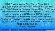 H2O Survival Water Filter Travel Straw MAX. Upgraded High Capacity Water Purifier that can filter up to 530 Gallons for Bacteria, Heavy Metals & Viruses via an Exclusive Hi-Density Filter System utilizing 0.01 micron Membrane/GAC and MIR Poly-Iodine Techn
