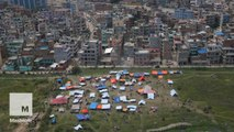 Aerial footage shows the damage of Nepal after earthquake