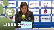 Conférence de presse Clermont Foot - FC Sochaux-Montbéliard (0-0) : Corinne DIACRE (CF63) - Olivier ECHOUAFNI (FCSM) - 2014/2015