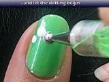 Spring Flower Nail Art Tutorial - Pretty Green Design for Short Nails Home Made DIY Easy Simple