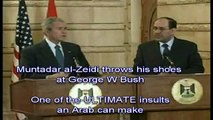 Shoes thrown at Bush - The ULTIMATE insult! (Subtitles and Slow Motion)