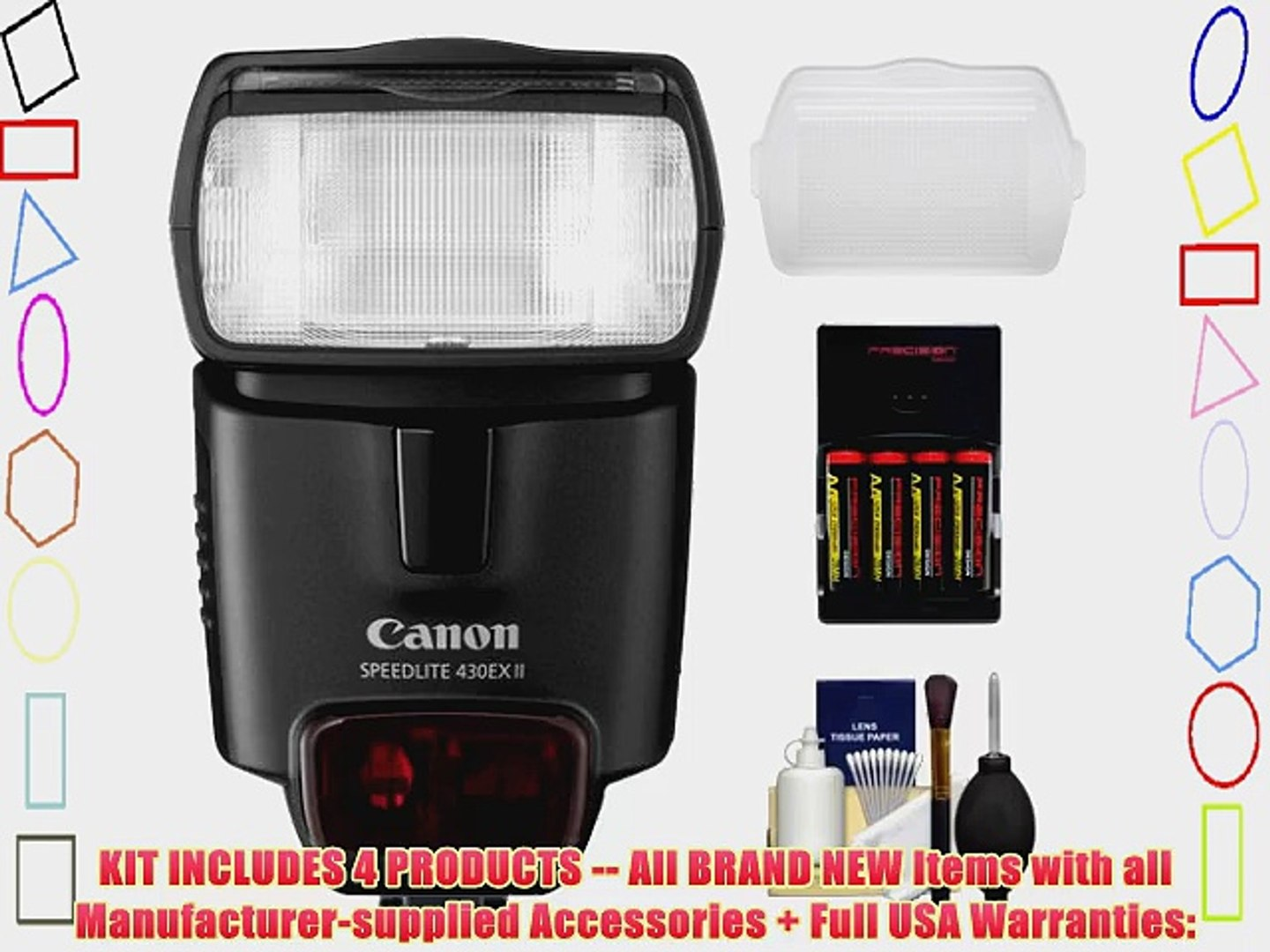 Canon 430EX II Speedlite Flash   Diffuser   4 AA Batteries
