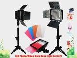 LimoStudio 2PC LED 160 Photographic Lighting Kit Photo Studio Barndoor Light Continuous Video