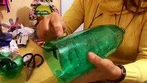 aretes,  pintados de botellas plásticas