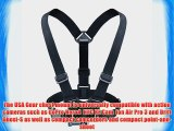 USA Gear Chest Harness Action Camera Mount with Elastic Stretch-Fit Straps and Included J Hook