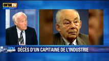 """Mort de François Michelin: un PDG qui a débuté """"sur les chaînes de montage"""", rappelle J.M. Sylvestre"""