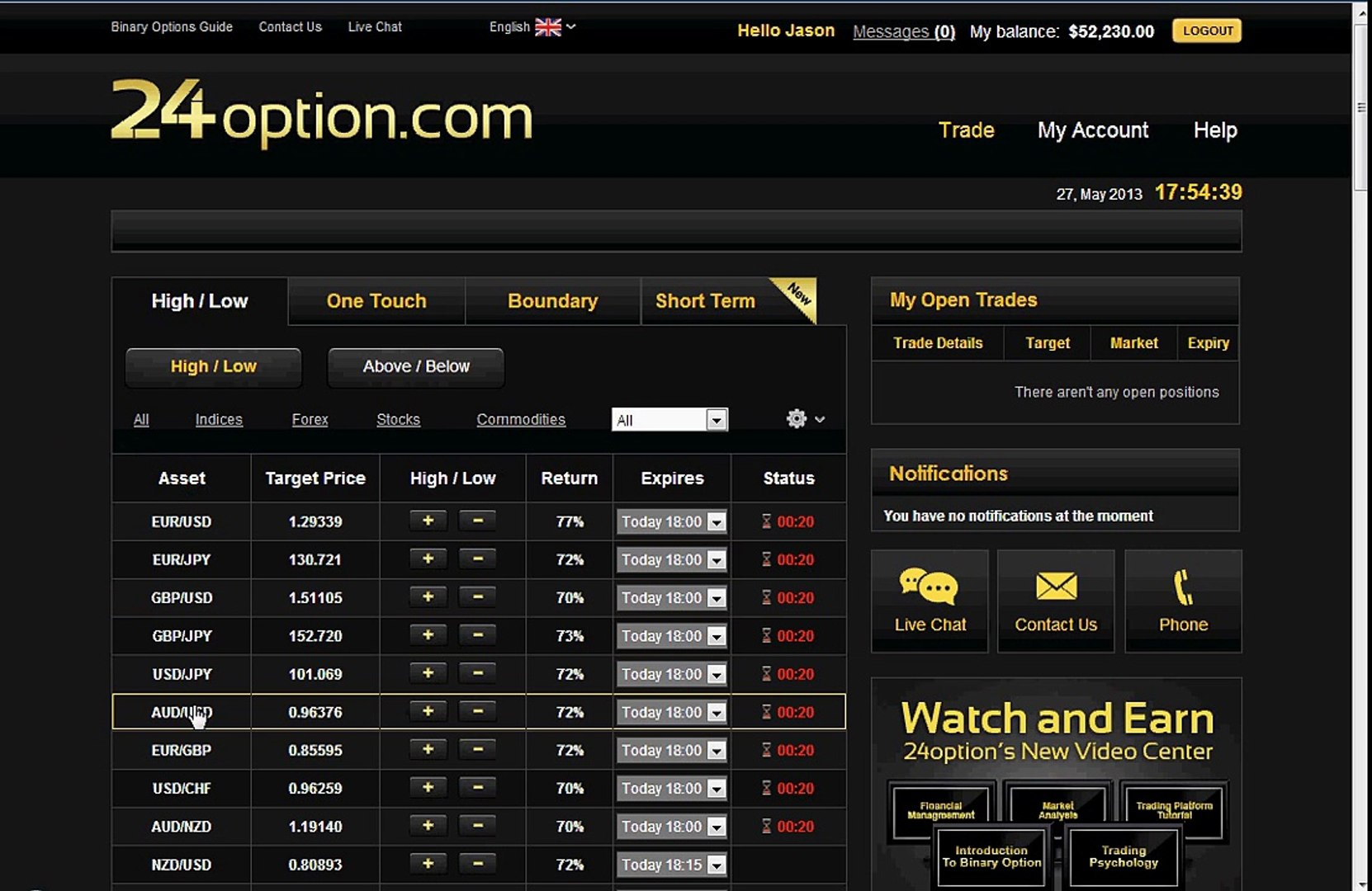 60 Second Binary Options Live Trading - Profit of $205