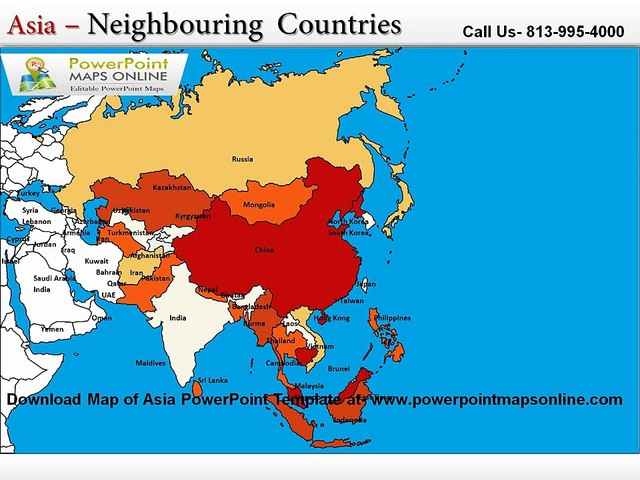 Map Of Asia Template.Map Of Asia Power Point Template