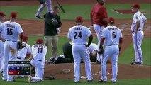 VIDEO - Baseball   :  Archie Bradley prend la balle à pleine vitesse dans la tête