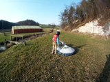 Hovercraft for kids to fly, real amphibious vehicle that fly on cushion of air and fly over land and water, snow and ice