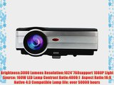 EUG 7 TFT Portable Hdmi LED 3000 Lumens 1024x768 Resolution LCD Video Projector 1080p Full