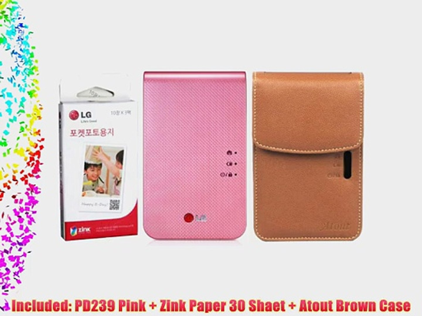 LG Popo Premium Synthetic Leather Case for PD239 PD241 Photo Printer Pink