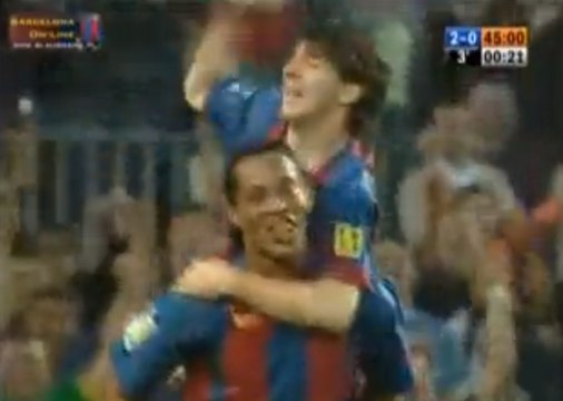 Messi's first goal with FC Barcelona