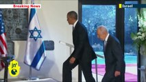 Obama in Israel: Shimon Peres receives Barack Obama at the Israeli Presidential Palace