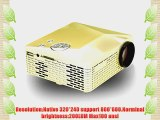 Eforce 200 ANSI Lumens Multimedia Projector Home Cinema Theater AV VGA HDMI USB SD 3D(golden)