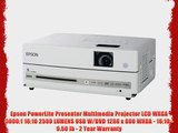 Epson PowerLite Presenter Multimedia Projector LCD WXGA 3000:1 16:10 2500 LUMENS USB W/DVD