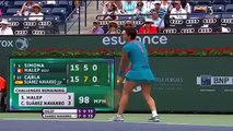 HD Simona Halep vs Carla Suarez Navarro SET 2 Highlights INDIAN WELLS 2015