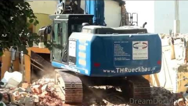 CATERPILLAR 320E ABBRUCH RESTAURANT ++ DEMOLITION EXCAVATOR TEARING DOWN DINER
