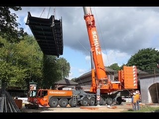 Brückenbau Hamburg Schulz Terex Demag AC 500-2 Mobilkran mobile crane lifting bridge
