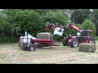 Manitou With Big Square Bale Wrapper