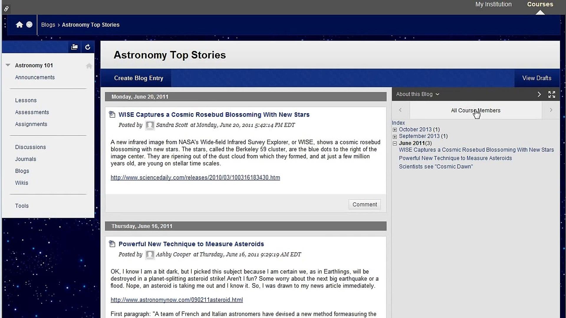 Creating and Editing a Blog Entry