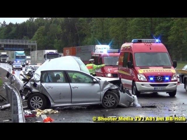 LKW RAST IN UNFALLSTELLE - Feuerwehr Ehningen & Böblingen im Einsatz [3 zum Teil Schwerverletzte]