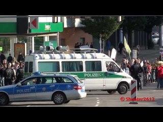 Viel Blaulicht am HBF Stuttgart bei Demo am 11.06.2012