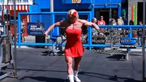 Massive Female bodybuilding hard gym workout at Muscle Beach