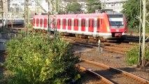 Züge kurz vor der Einfahrt und kurz nach der Ausfahrt Düsseldorf Hbf