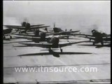 Plane crashes on aircraft carrier during WW2