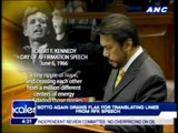 Sotto draws flak anew for 'copying' RFK speech