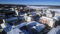 Santa Claus' home town Rovaniemi in Lapland Finland by air - Father Christmas home Arctic Circle