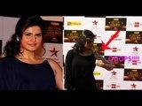 OOPS !! Zarine Khan Adjusts BRA Fit Short Dress - Grace The Big Star Entertainment Awards