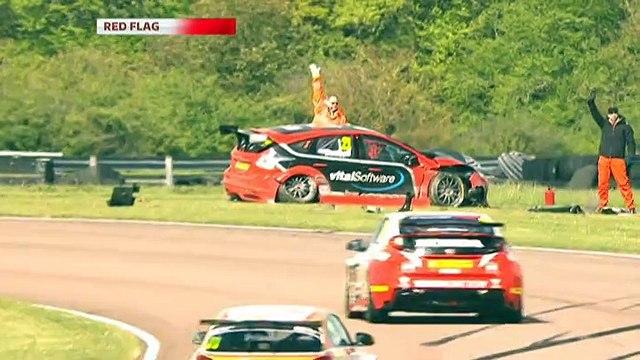 BTCC 2015 Thruxton Qualifying Bushell Belcher MASSIVE Crash