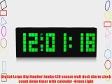 Digital Large Big Number Jumbo LED snooze wall desk Alarm clock count down timer with calendar