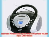 Supersonic Portable Audio System MP3/CD Player with USB/AUX Inputs