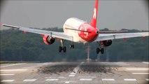 Crosswind Landings At Düsseldorf - Airbus A330, Airbus A319, Boeing 737-800, Embraer ... (HD)