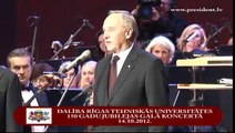 Dalība Rīgas Tehniskās universitātes 150 gadu jubilejas Galā koncertā 14/10/2012
