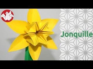 Origami - Jonquille sur tige - Daffodil on Stem [Senbazuru]
