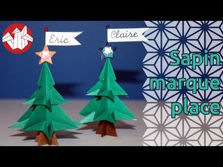 Origami - Mini-sapin marque-place - Christmas Tree Table Mark [Senbazuru]