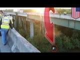 Buen samaritano se ve obligado a saltar de un puente mientras intentaba ayudar a