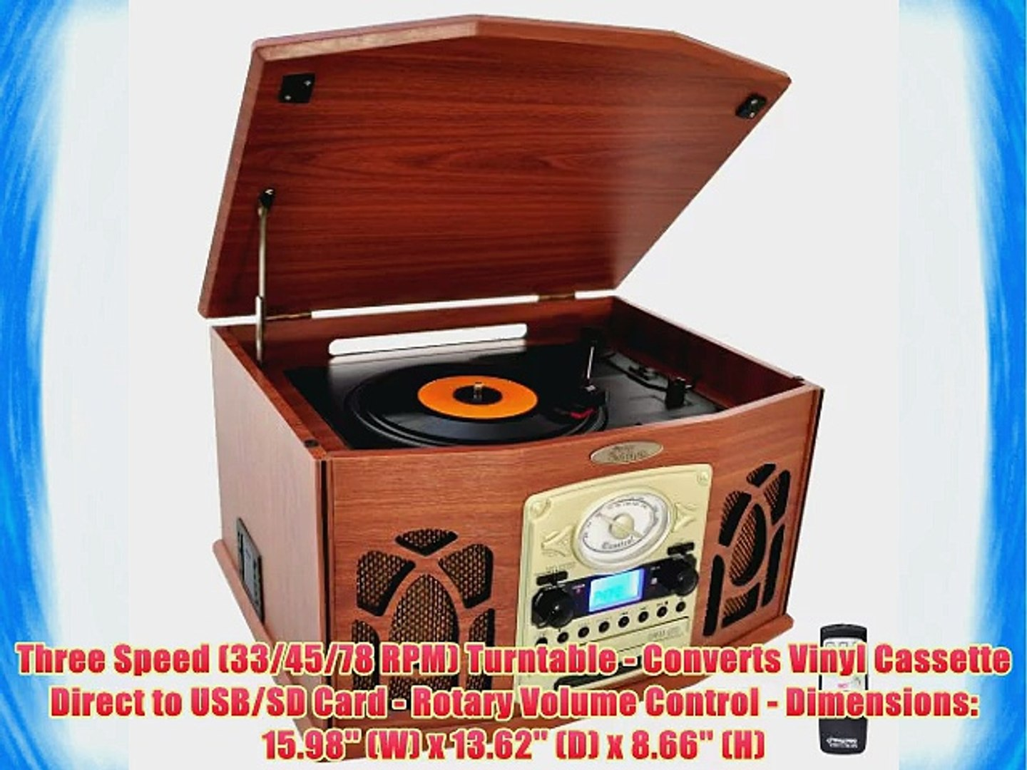 Pyle Home PTCDS7UIW Retro Vintage Turntable with CD/MP3/Casette/Radio/USB/SD Aux-In and Vinyl-to-MP3