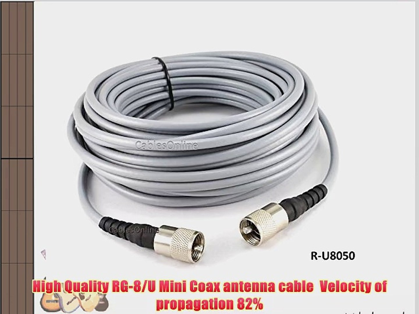 CablesOnline R-U025 PL259 25ft RG8x Coax UHF Male to Male Antenna Cable