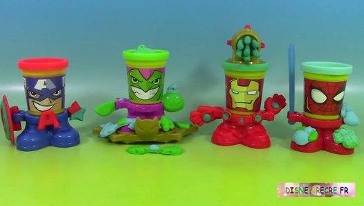 Pâte à modeler Play doh Can heads Spiderman Bouffon vert Iron Man Captain America - video ...