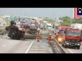Chemical tanker overturns: 4 injured in chemical truck road accident