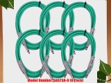 Seismic Audio SASTSX-6Green-6PK 6-Feet TS 1/4-Inch Guitar Instrument or Patch Cable Green