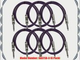 Seismic Audio SASTSX-3Purple-6PK 3-Feet TS 1/4-Inch Guitar Instrument or Patch Cable Purple