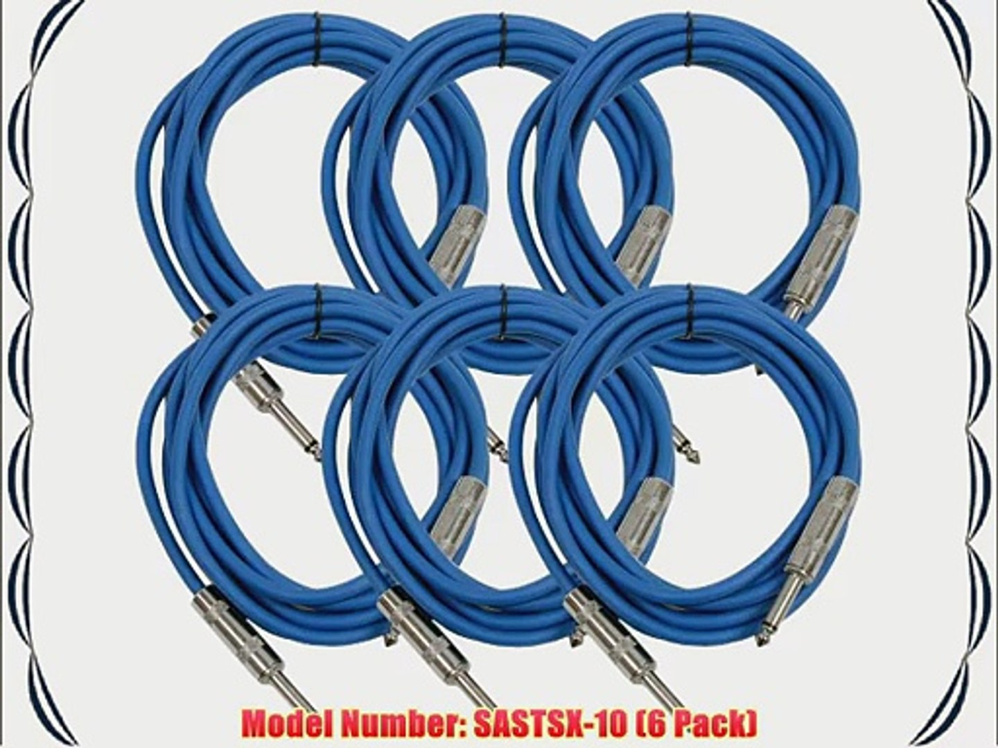 Seismic Audio SASTSX-10Blue-6PK 10-Feet TS 1/4-Inch Guitar Instrument or Patch Cable Blue