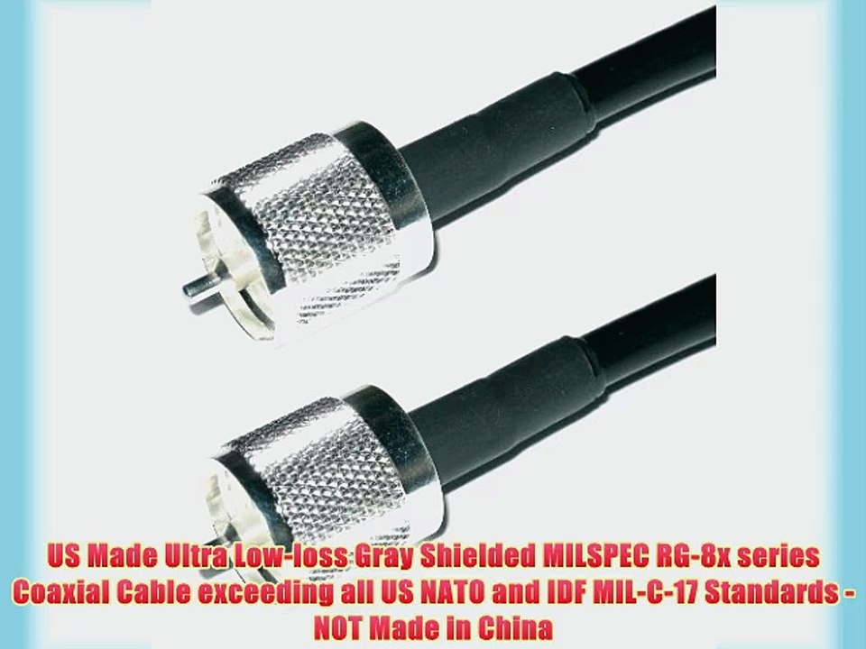 50FT RG-8x COAX COAXIAL CABLE LOW LOSS w// MALE PL-259 CB HAM RADIO RG8 NEW!