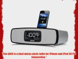 iHome iA90 App-enhanced Dual Alarm Stereo Clock Radio Charger for iPhone/iPod with AM/FM PresetsSilver